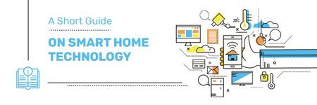 Plantilla de diseño de Smart Home Concept with tech Icons Email header