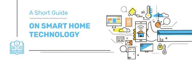 Plantilla de diseño de Smart Home Concept with tech Icons Email header