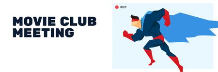 Plantilla de diseño de Movie Club Meeting Man in Superhero Costume Email header