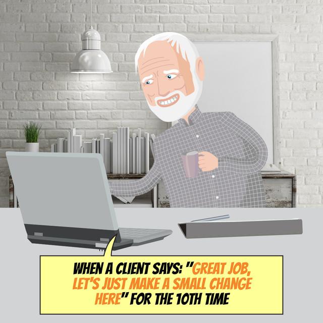 Senior man working on Laptop Animated Postデザインテンプレート