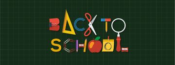 Back to School Inscription with Stationery | Facebook Video Cover Template