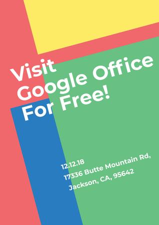Invitation to Google Office for free Poster Modelo de Design