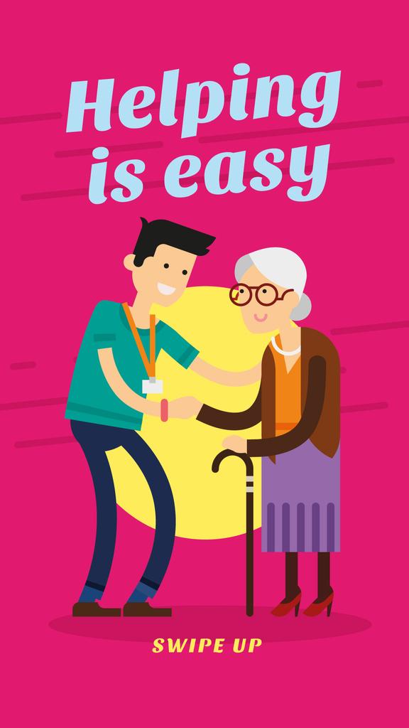 Man supporting elder woman — Maak een ontwerp