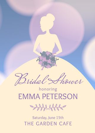 Plantilla de diseño de Bridal Shower Bride Silhouette in Purple Invitation
