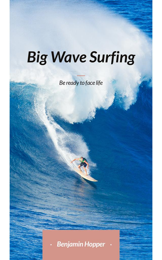 Plantilla de diseño de Surfer Riding Big Wave in Blue Book Cover