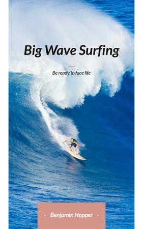 Ontwerpsjabloon van Book Cover van Surfer Riding Big Wave in Blue