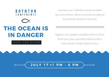 Ecology Conference Invitation with blue Sea Waves Postcard – шаблон для дизайна