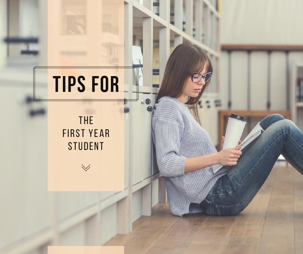 Education Tips Girl Reading in Library | Facebook Post Template — Modelo de projeto