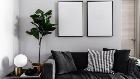 Plantilla de diseño de Modern Interior with Sofa in monochrome Zoom Background