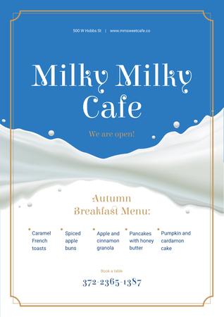 Template di design White milk wave Poster