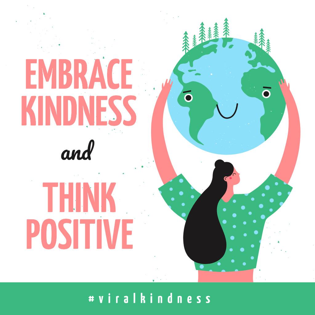 #ViralKindness Woman holding smiling Earth planet — Maak een ontwerp