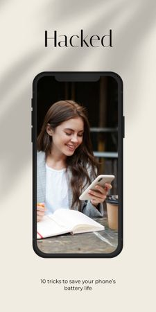 Smiling Girl using Smartphone Graphic – шаблон для дизайна