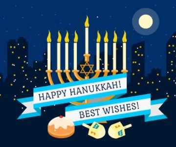 Happy Hanukkah Greeting Menorah and Buns