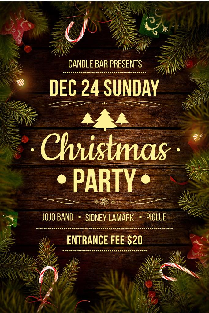Christmas Party Invitation with Decorated Tree on Wooden — Crear un diseño