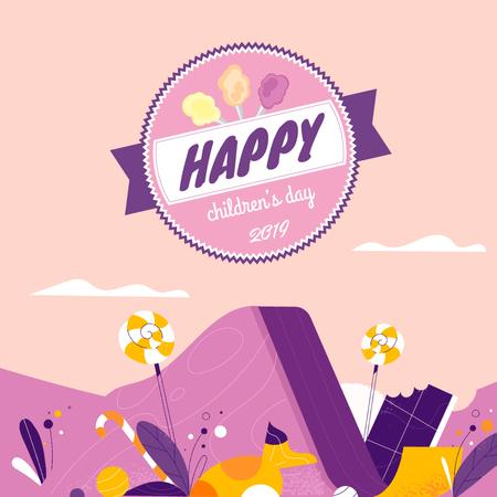 Plantilla de diseño de Happy kid on a slide on Children's Day Animated Post