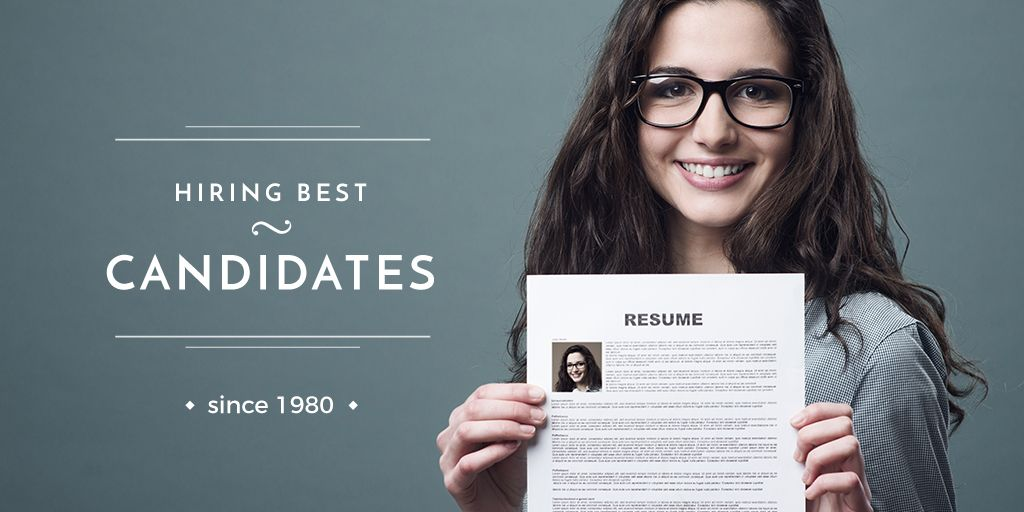 Hiring Candidates with Girl Holding Her Resume — Створити дизайн