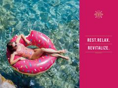 Woman relaxing on floating ring