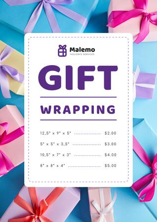 Gift Wrapping Service Ad with Boxes with Bows Poster – шаблон для дизайна