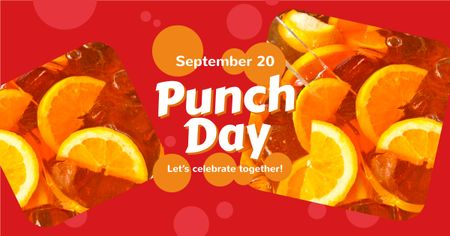 Punch Day Celebration Drink with Ice and Citruses Facebook AD Modelo de Design