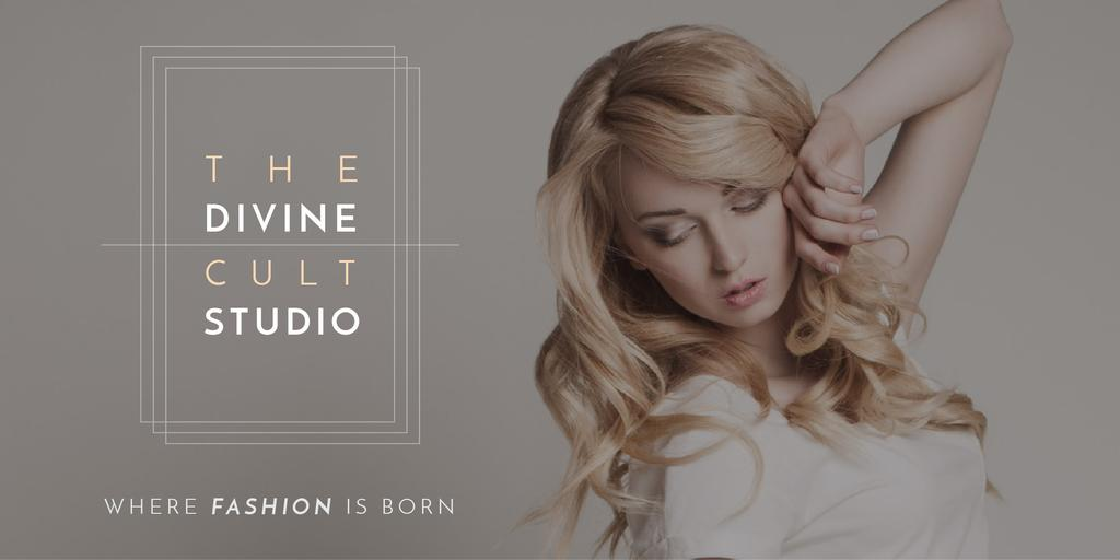 Beauty Studio Ad with Attractive Blonde Twitter Tasarım Şablonu
