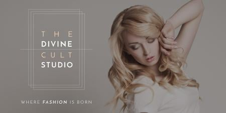 Ontwerpsjabloon van Twitter van Beauty Studio Ad with Attractive Blonde