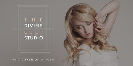 Beauty Studio Ad with Attractive Blonde Twitter Design Template
