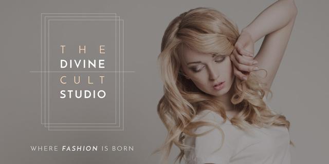 Ontwerpsjabloon van Twitter van Beauty Studio Ad with Attractive Blonde