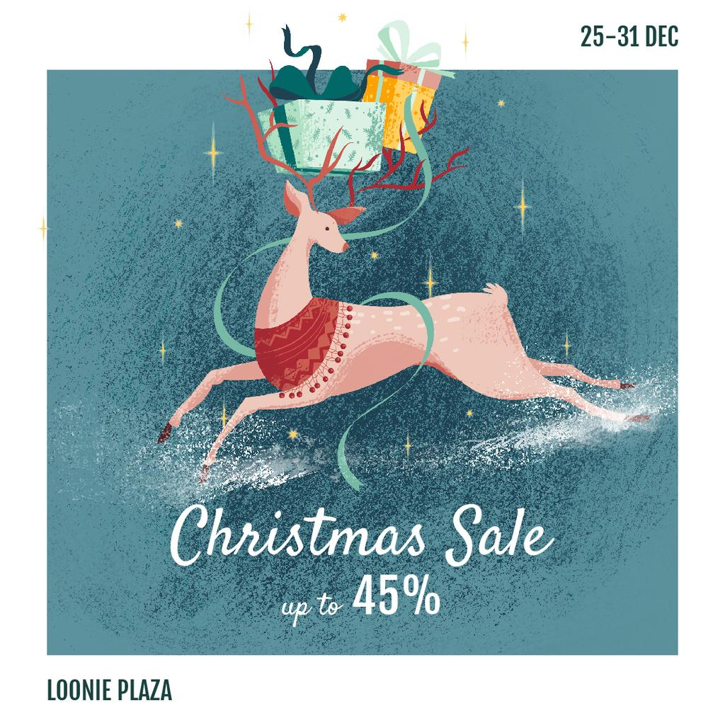 Christmas Sale Deer with Gifts — Crear un diseño