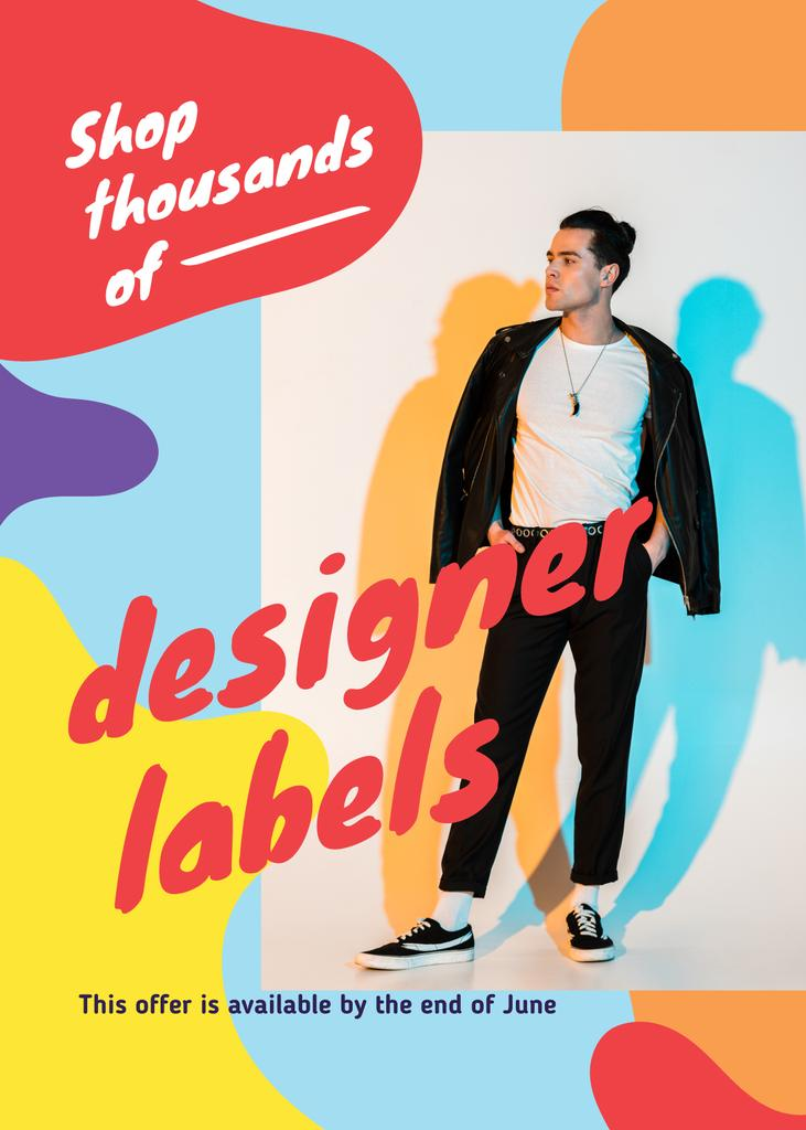 Plantilla de diseño de Fashion Offer with Stylish Young Man Flayer
