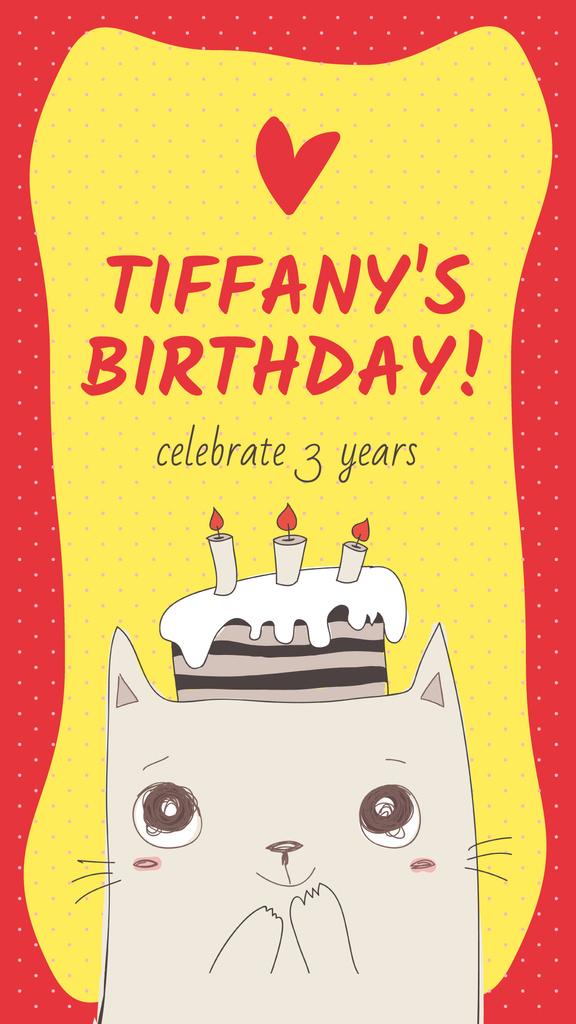 Cute cat with birthday cake - Vytvořte návrh