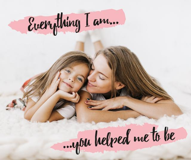 Maternity Quote Mother with  Daughter Facebookデザインテンプレート