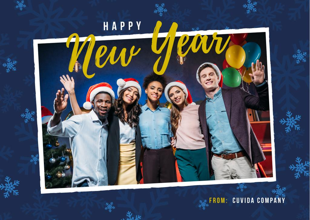 Happy New Year Greeting People Celebrating — Create a Design