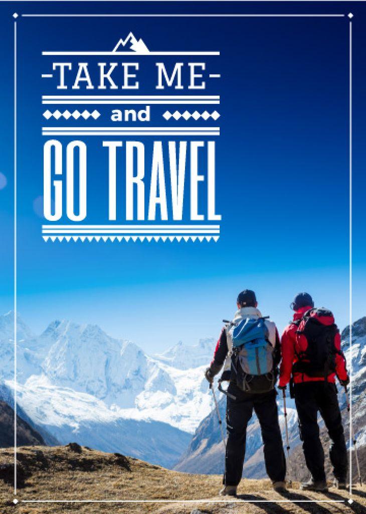 Winter Tour inspiration Hikers in Snowy Mountains — Modelo de projeto