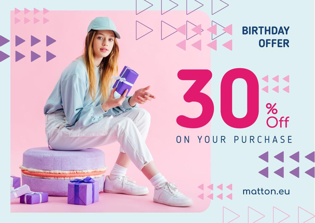 Birthday Offer Girl with Gifts in Purple — Створити дизайн