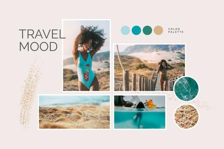 Ontwerpsjabloon van Mood Board van Summer Travel mood with Girl at the beach