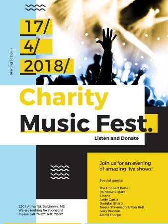 Charity Music Fest Invitation Crowd at Concert Poster USデザインテンプレート