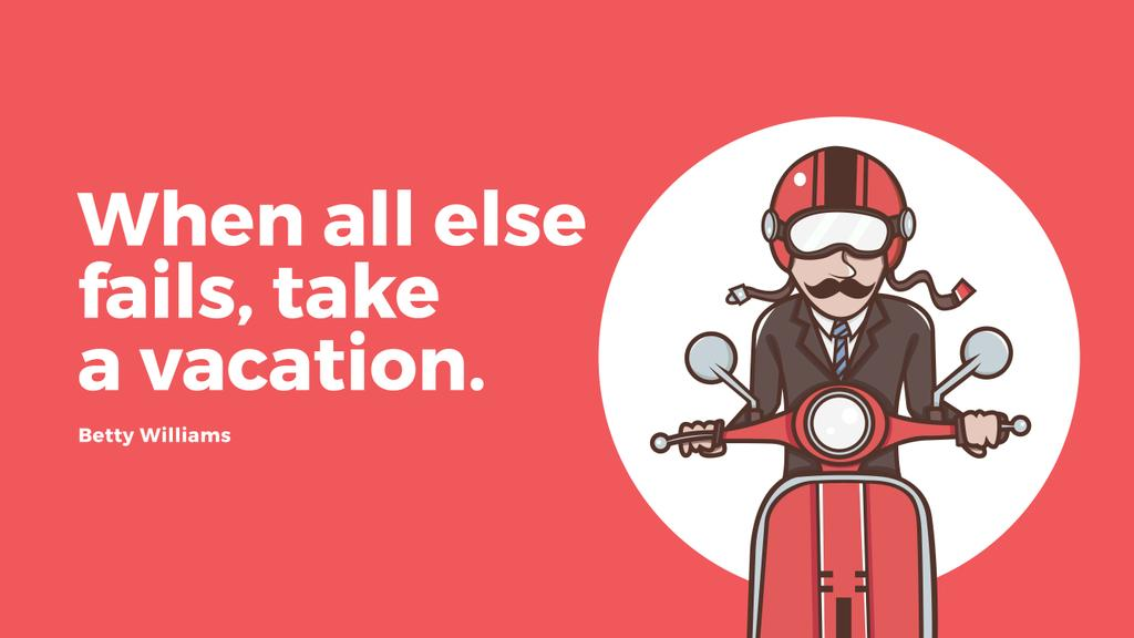 Vacation Quote Man on Motorbike in Red | Youtube Channel Art — ein Design erstellen