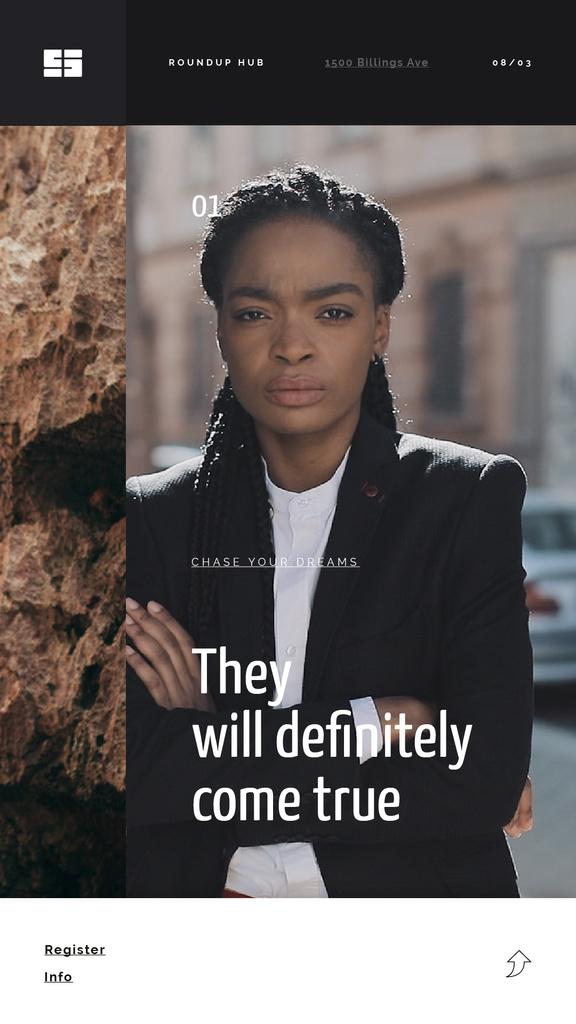 Inspiration Quote Confident Young Woman — Modelo de projeto