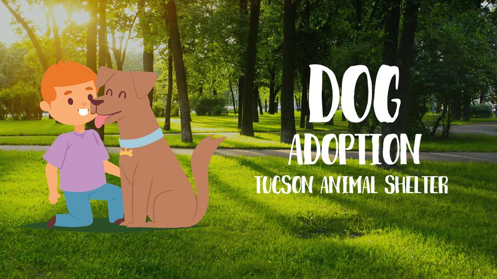 Pet Adoption Ad Boy Playing with Dog — ein Design erstellen