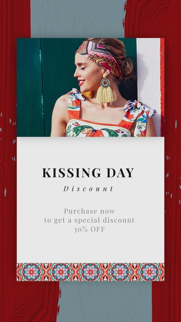 Kissing Day Sale Woman in Bright Dress | Vertical Video Template — Create a Design