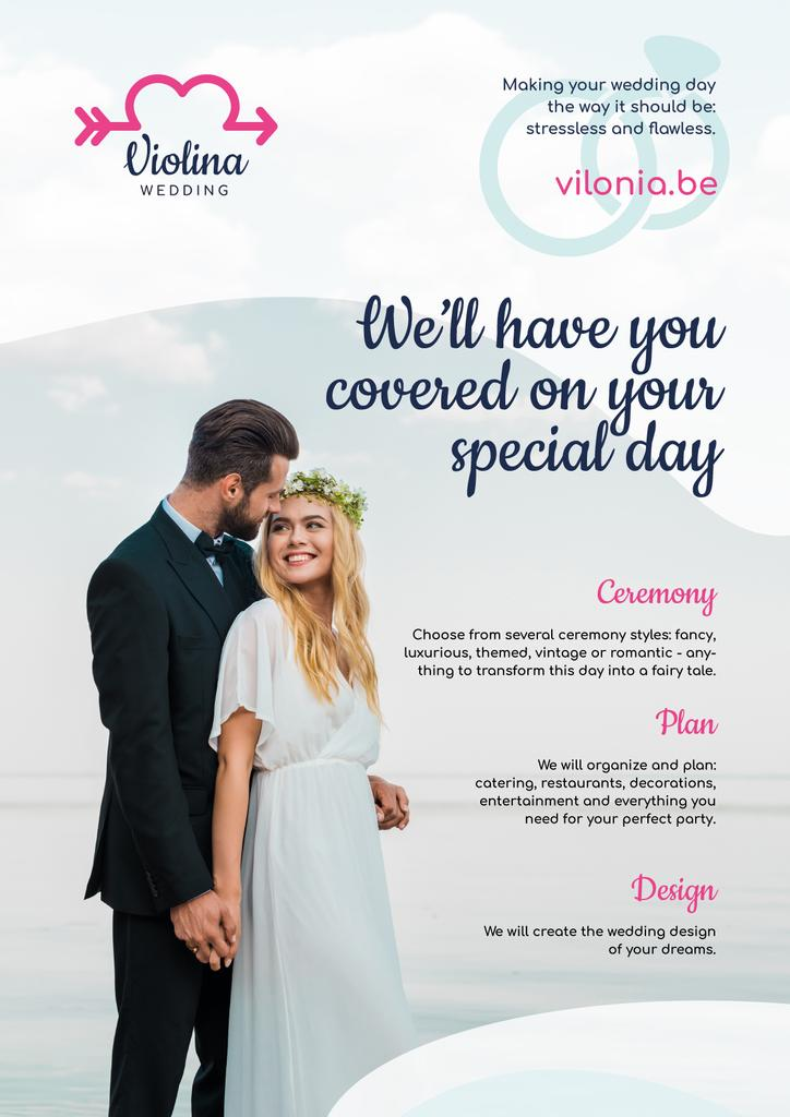 Wedding Planning Services Happy Newlyweds | Poster Template — Modelo de projeto