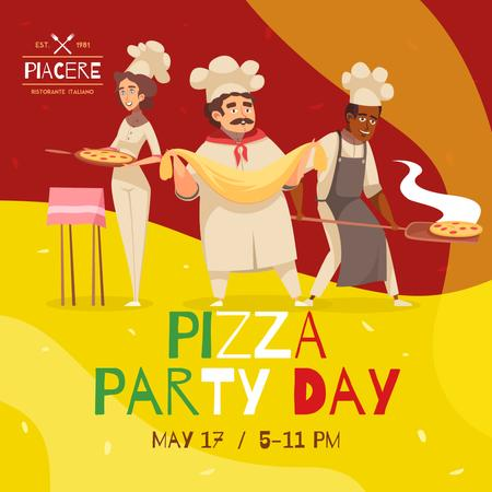 Pizza Party Day with Cooks making Pizza Instagram – шаблон для дизайна