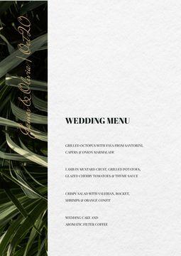 Wedding Meal list on Leaves pattern