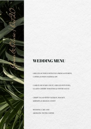 Ontwerpsjabloon van Menu van Wedding Meal list on Leaves pattern