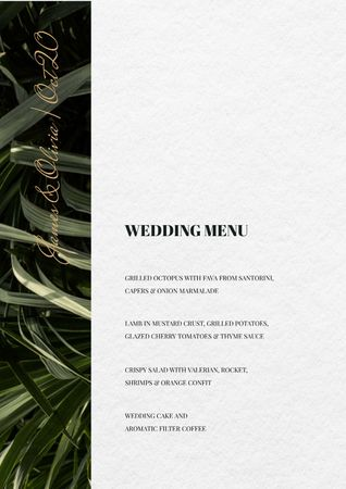 Wedding Meal list on Leaves pattern Menu Tasarım Şablonu