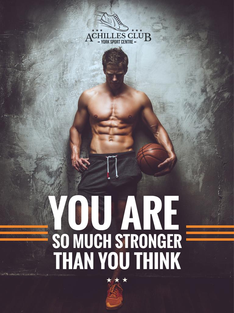 Plantilla de diseño de Sports Motivational Quote with Basketball Player Poster US