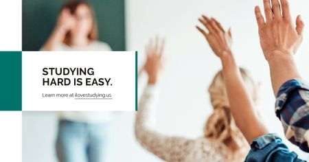 Studying Quote Students Rising Their Hands Facebook AD Design Template