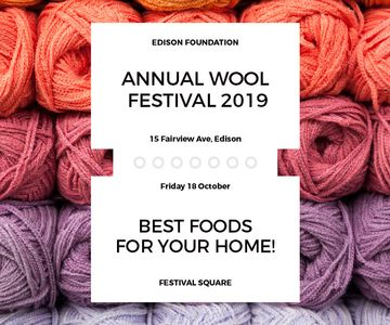 Knitting Festival Invitation Wool Yarn Skeins | Large Rectangle Template