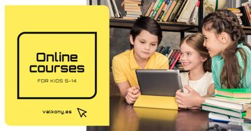 Online Courses Ad Kids with Tablet