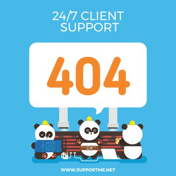 Client Support Funny Pandas Fixing Computer Network | Square Video Template